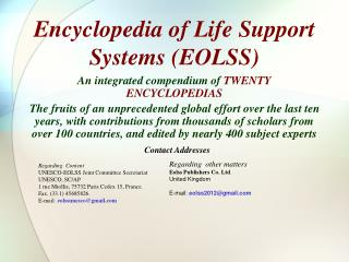 Encyclopedia of Life Support Systems EOLSS
