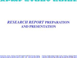 CHAPTER 12 RESEARCH REPORT PREPARATION AND PRESENTATION