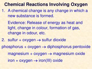 Chemical Reactions Involving Oxygen