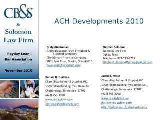 ACH Developments 2010