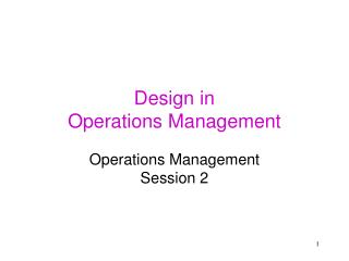 Design in Operations Management