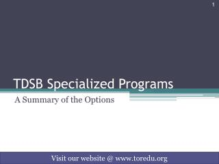 TDSB Specialized Programs