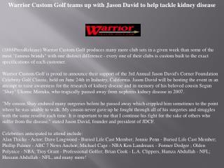 warrior custom golf teams up with jason david to help
