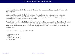 LT Investment Banking