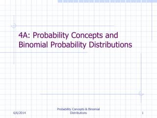 4A: Probability Concepts and Binomial Probability Distributions