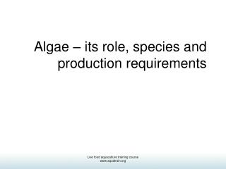 Algae   its role, species and production requirements