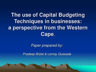 The use of Capital Budgeting Techniques in businesses: a ...