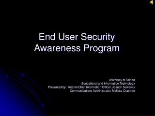 End User Security Awareness Program