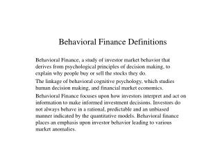 Behavioral Finance Definitions