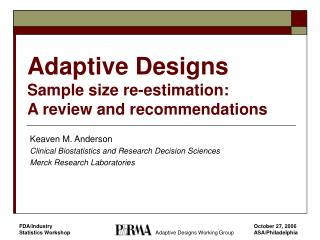 Adaptive Designs Sample size re-estimation:
