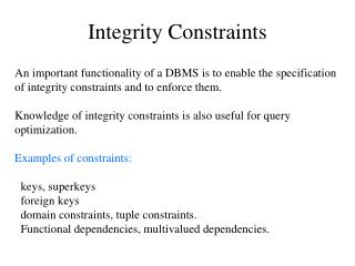 Integrity Constraints