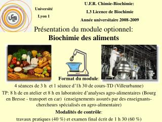 Pr sentation du module optionnel: Biochimie des aliments