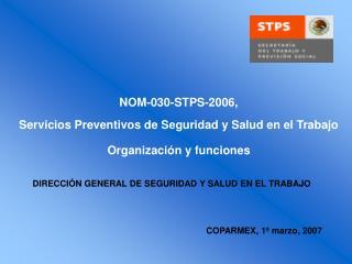 NOM-030-STPS-2006,  Servicios Preventivos de Seguridad y Salud en el Trabajo  Organizaci n y funciones