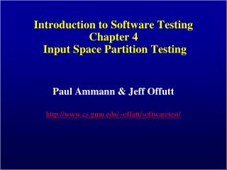 Introduction to Software Testing Chapter 4 Input Space ...