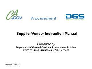 SupplierVendor Instruction Manual