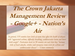 The Crown Jakarta Management Review - Google+ - Nation's Air