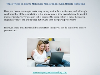Three Tricks on How to Make Easy Money Online with Affiliate