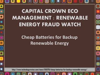Capital Crown Eco Management: Renewable Energy Fraud Watch