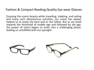 Fashion & compact Reading quality eye Glasses