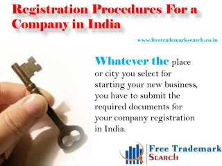 Registration Procedures For a Company in India