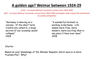 The Golden Years of the Weimar republic 1924-29