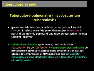 Tuberculose pulmonaire mycobacterium tuberculosis