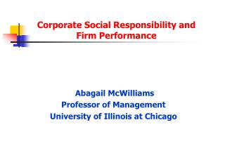 Corporate Social Responsibility and Firm Performance
