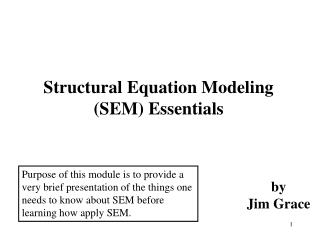 Structural Equation Modeling SEM Essentials