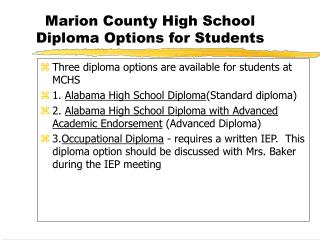 Marion County High School Diploma Options for Students