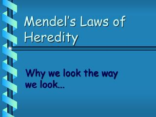 Mendel s Laws of Heredity