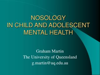 NOSOLOGY IN CHILD AND ADOLESCENT MENTAL HEALTH