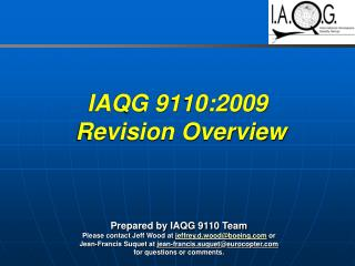 IAQG 9110:2009  Revision Overview