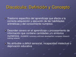 Discalculia: Definici n y Concepto