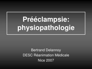 Pr  clampsie: physiopathologie