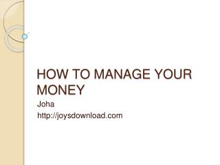 tips to manage money