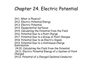 Chapter 24. Electric Potential