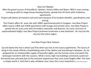 ireo new project gurgaon, ireo new projects apartments se