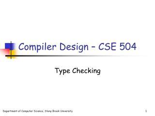 Compiler Design   CSE 504