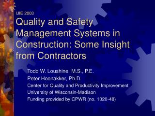 IJIE 2003 Quality and Safety Management Systems in ...