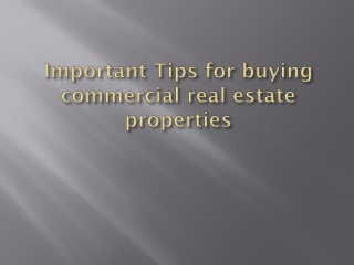 Important Tips for Buying Commercial Real estate Properties