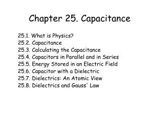 Chapter 25. Capacitance
