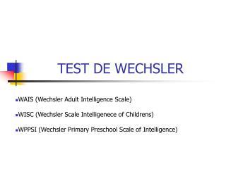 TEST DE WECHSLER