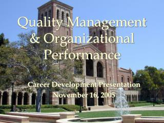Quality Management  Organizational Performance