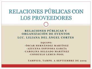 RELACIONES P BLICAS CON LOS PROVEEDORES