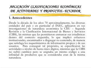 APLICACI N  CLASIFICACIONES  ECON MICAS DE  ACTIVIDADES  Y  PRODUCTOS.- ECUADOR