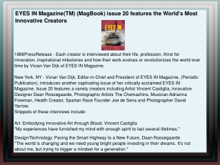 EYES IN Magazine(TM) (MagBook) issue 20 features the World's