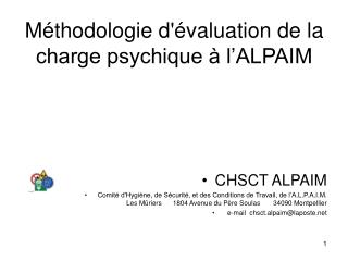 M thodologie d valuation de la charge psychique   l ALPAIM