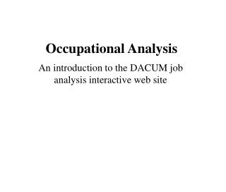 Occupational Analysis