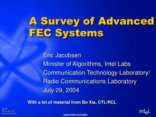 A Survey of Advanced FEC Systems