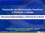 Promo  o da Alimenta  o Saud vel  e Prote  o   Sa de  Panorama Epidemiol gico e Nutricional no Brasil       2  Reuni o d